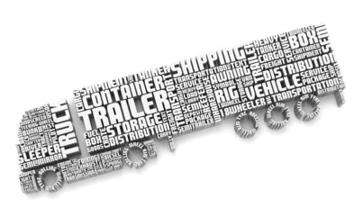 3d words shaping a truck with trailer