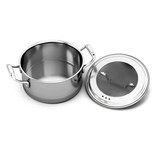 Stainless steel pan for cooking with the lid open