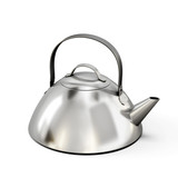 Teapot from stainless steel on a white background