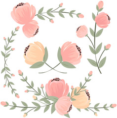 Set of retro styled flowers isolated on white background, vector