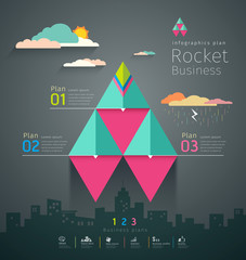 Info graphic business triangle rockets plan