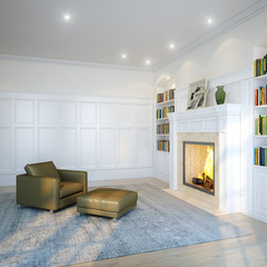 Fireplace and grey armchair in bright contemporary living room