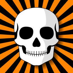 White skull on black orange beams. Vector illustration