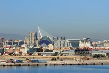 City suburbs and oceanographic park of Valencia, Spain