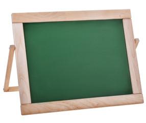 empty green schoolboard in wooden frame