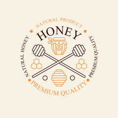 Vector set of honey and bees labels, badges