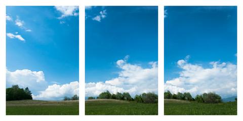 Colline verdi e cielo blu