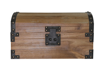 wooden chest isolated on white background