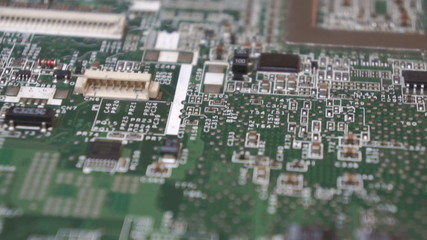Fly and slide over computer board, background