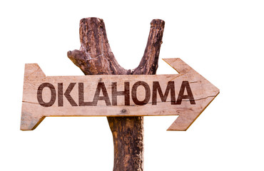 Oklahoma wooden sign isolated on white background