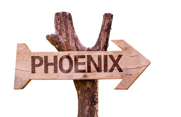 Phoenix wooden sign isolated on white background