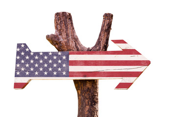 United States Flag wooden sign isolated on white background