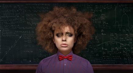 Metaphor. Ridiculous and Exhausted Professor over Blackboard