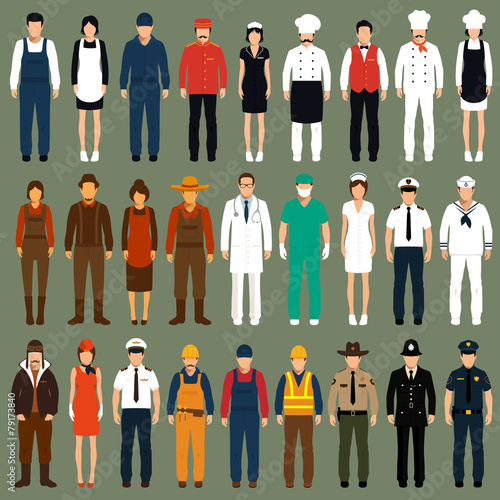 vector icon workers, profession people uniform, cartoon vector - 79173840