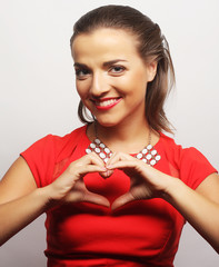young happy woman in red dress
