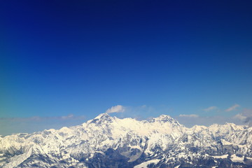 Cho Oyu and Gyachung Kang peaks aerial view. Nepal. 1110