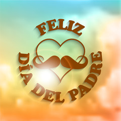 Heart with a mustache and text feliz dia del padre