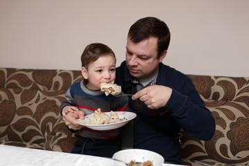 Child eating khinkali