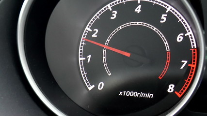 The video shows modern car dashboard. Clous up.