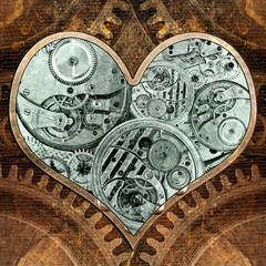 Metal heart ticking inside. Grungy background