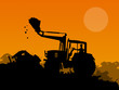 canvas print picture - Silhouette of working bulldozer on background
