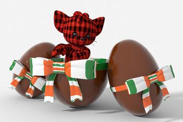 Uovo di Pasqua cioccolato con colori Irlanda  e peluche