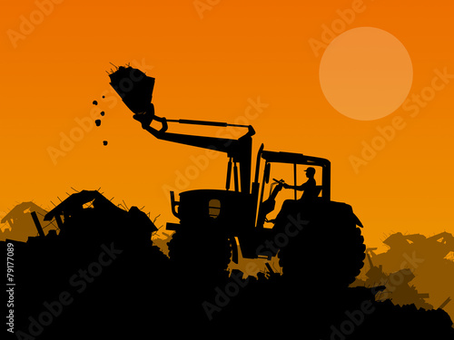 canvas print picture Silhouette of working bulldozer on background
