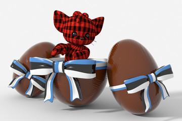 Uovo di Pasqua cioccolato con colori Estonia  e peluche