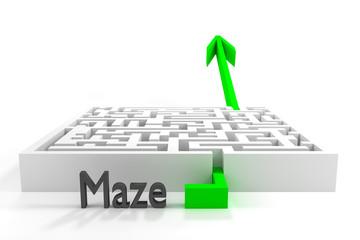 green arrow passes white 3d maze