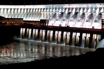 Itaipu Dam on Parana river located on the boarder between Brazil