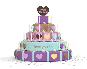 Cake with text I love you