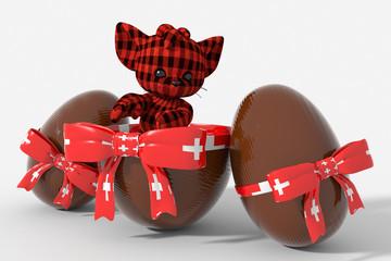 Uovo di Pasqua cioccolato con colori Svizzera  e peluche