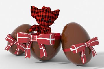 Uovo di Pasqua cioccolato con colori Danimarca  e peluche