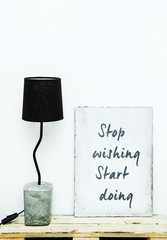 Motivational hipster frame  STOP WISHING START DOING