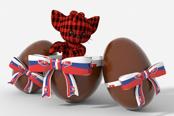 Uovo di Pasqua cioccolato con colori Slovacchia  e peluche