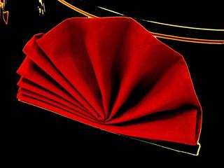 Red Napkin on Black