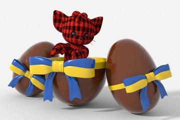 Uovo di Pasqua cioccolato con colori Ucraina  e peluche