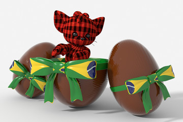 Uovo di Pasqua cioccolato con colori Brasile  e peluche
