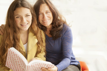 Girl Reading with Grandmother