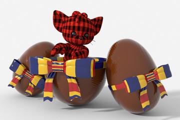 Uovo di Pasqua cioccolato con colori Romania e peluche