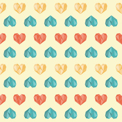 Vintage white colorful heart pattern