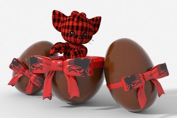 Uovo di Pasqua cioccolato con colori Albania e peluche