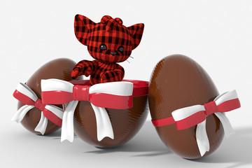 Uovo di Pasqua cioccolato con colori Polonia  e peluche