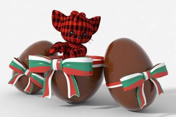 Uovo di Pasqua cioccolato con colori Bulgaria  e peluche