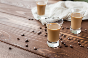 coffee liqueury with coffee beans