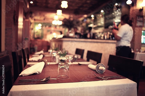 food in the restaurant, table, background - 79180654