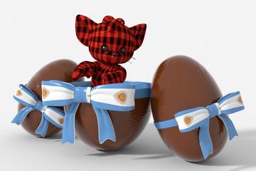 Uovo di Pasqua cioccolato con colori Argentina  e peluche