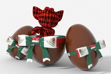 Uovo di Pasqua cioccolato con colori Messico  e peluche