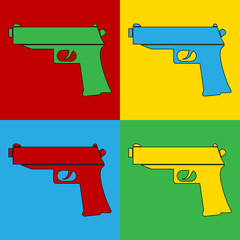 Pop art gun symbol icons.