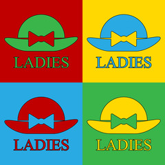 Pop art female hat symbol icons.